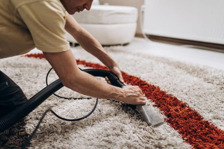 man cleaning carpet using a machine in wellington